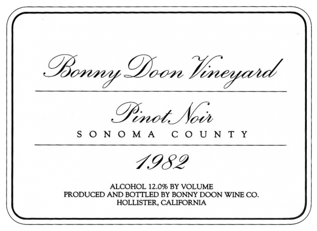 1982 Pinot Noir label