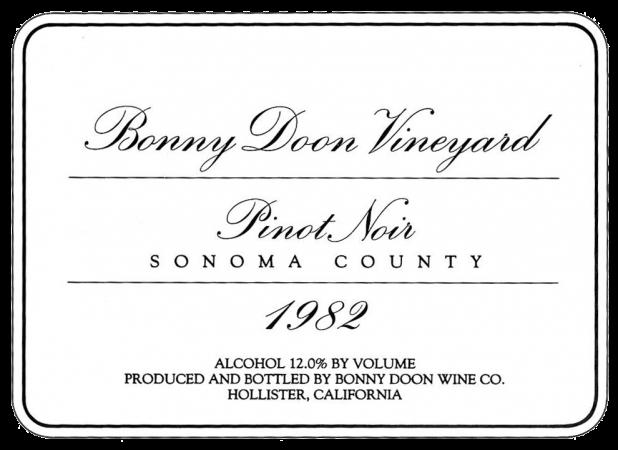 1982 Pinot Noir label