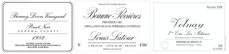 Original BDV Pinot Noir label, Louis Latour and de Montille labels