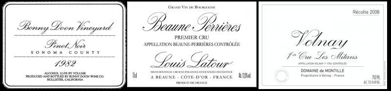 Original BDV Pinot Noir label, Louis Latour and de Montille labels