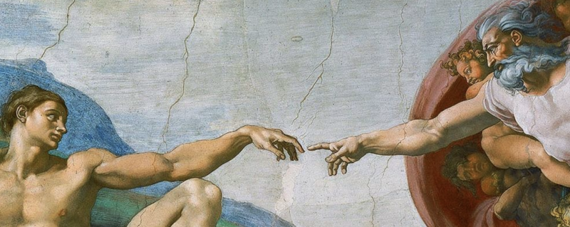 Michelangelo painting of God reaching out to Adam
