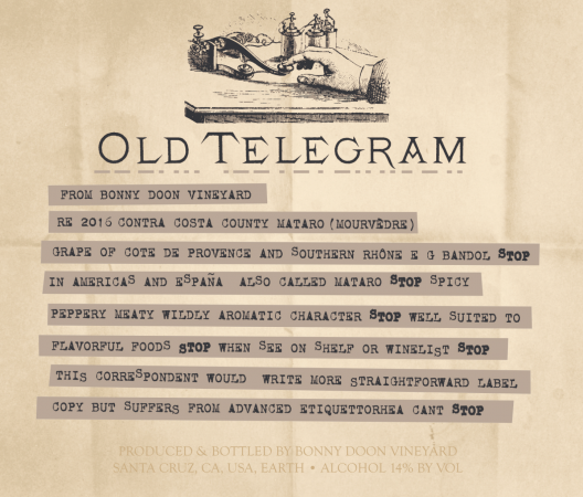 Old Telegram label