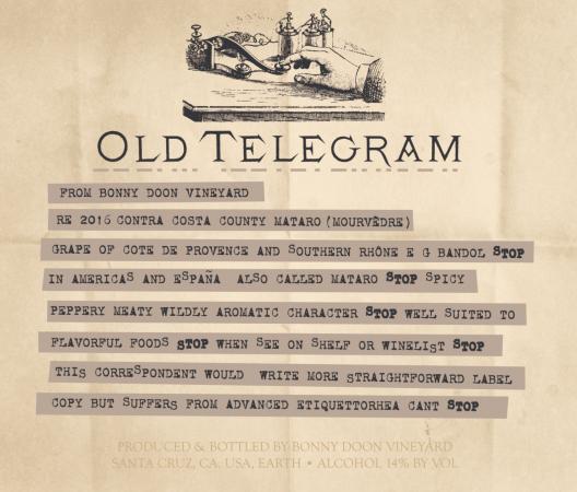 Old Telegram label