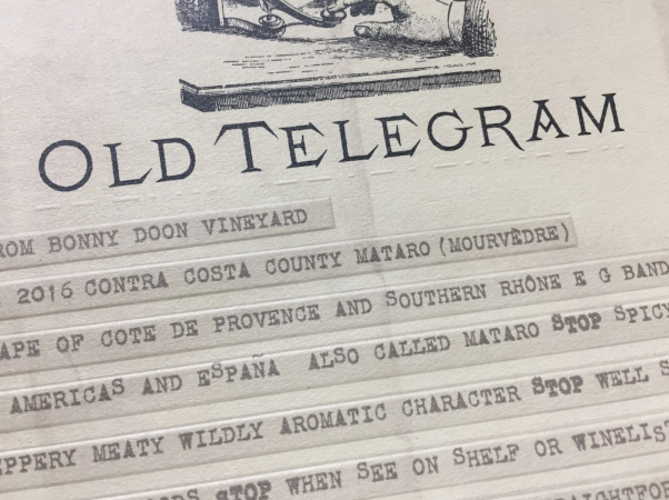 Close-up of Old Telegram label - embossed Morse Code
