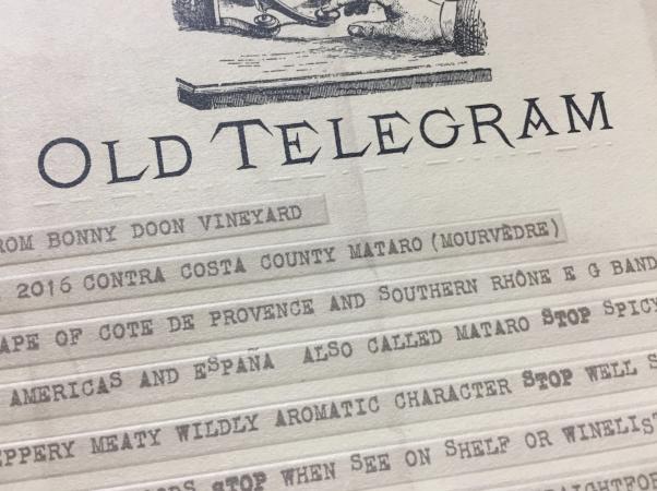 Close-up of Old Telegram label - embossed Morse Code